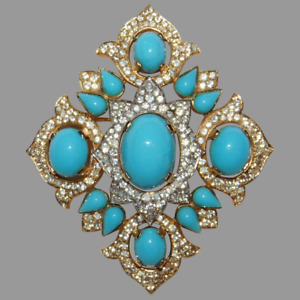Beautiful Vintage Brooch Pin is Signed w/ 10K Yellow Gold Over Turquoise Diamond