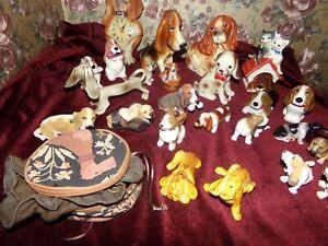 Lot of 25 Vintage porcelain ceramic Dogs figurines