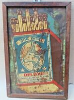 Vintage Match Box Adverting wood framed pictorial tin board COW CHAAP distressed
