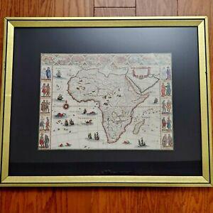 VINTAGE MAP AFRICA NOVA DEFERIPTIO COPY BY WILLEM BLAEU FRAMED, MATTED 15 X 11