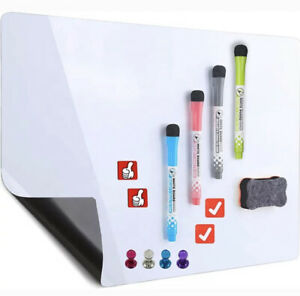 MAGNETIC WHITEBOARD FOR FRIDGE DRY ERASE A4 PLANNER 4 PENS 4 PIN MAGNETS RUBBER