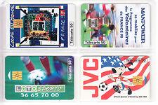 4 TELECARTE / PHONE CARD .. FRANCE 50U PACK SPORT FOOTBALL SOCCER MIX PUCE C.10€
