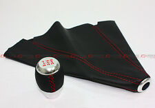 FOR ACURA RSX TSX TL CHROME 5 SPEED SHIFTER KNOB RED STITCH + BLACK LEATHER BOOT