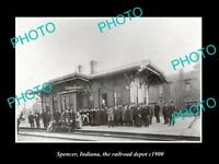 OLD LARGE HISTORIC PHOTO OF SPENCER INDIANA, RAILROAD DEPOT STATION c1900