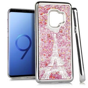 For Samsung Galaxy S9 - Silver Paris Eiffel Tower Glitter Stars Liquid Skin Case