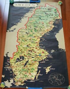 1955 Map of Sweden 24.25 x 54.25 Svenska Institutet AB Anders Beckman Stockholm