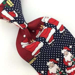 OSCAR DE LA RENTA US MADE SANTA Christmas Silk Dots Necktie Tie X1-69  Excellent