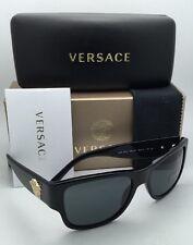 New VERSACE Sunglasses VE 4275 GB1/87 58-18 140 Black & Gold Frames Grey Lenses