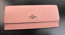 NWT COACH Textured Anti Scratch Leather Soft Slim Envelop Wallet In Pink
