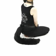 Pawstar Black Furry Kitty Cat Costume Tail Plush Cosplay