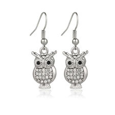 Owl Fashionable Earrings - Fish Hook - Sparkling Crystal