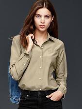 GAP Women's Cotton Silk Blend Pocket Shirt, Solid, Color Driftwood, Size L, NWT