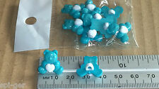 10 New Plastic Teddy Bear Design Turquoise Shanked Buttons Sewiing Craft Clothes