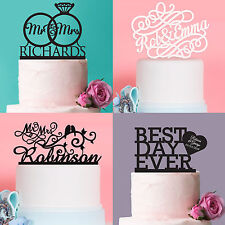 Personalised Favours Unique Wedding Cake Topper - Custom Bridal Mr and Mrs Words