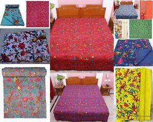 Indian Handmade Cotton Vintage Twin Size Kantha Work Blanket Quilt Bedspreads
