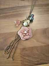 Jewellery vintage  enamel flower bird pearl charm necklace. Gold tone
