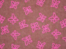 Hot Pink Butterfly Flannel - Snuggle Flannel Fabric - BTY - Pink & Brown Flannel