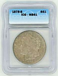 1878-S MORGAN SILVER DOLLAR ~ICG MS 61