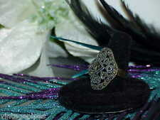 Vintage Ladies Hearts Marcasite 925 Sterling Silver Ring Sz 8  5.2Gr Filigree