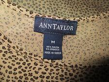 Ann Taylor Leopard spotstretch tank camisole SILK shirt shell MEDIUM 6 brown set