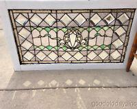 "Beautiful Victorian Stained Glass Transom Window w Bevels & Jewels 36 1/2"" x 21"""