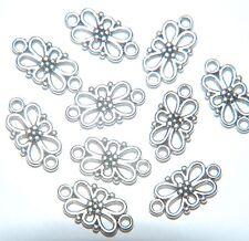 15 x Conector de filigrana floral placa de plata Antiqued había/Araña De Carpintero ~ 15mm