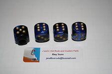 Blue Dice with Gold  pips Valve Stem Caps, T bucket, Hot Rod Valve Caps