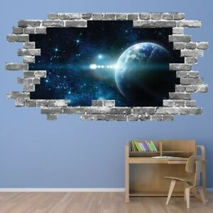 Planets Space Galaxy Grey Brick 3D Hole In The Wall Sticker WS-67400