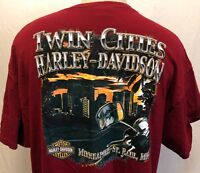 Harley Davidson Twin Cities Minnesota St. Paul Minneapolis Shirt Sz 2XL Burgundy