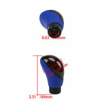 Universal PU Leather Car Manual Shift Knob Gear Stick Shifter Lever Brown + Blue