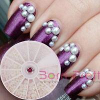 1Box 3 Sizes Pearl Rhinestone Charms 3D Nail Art Stud Craft  Decoration