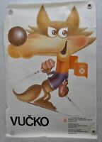 "Vintage 1984 Sarajevo Winter Olympics Poster Mascot ""Vucko Skiing"" 27"" x 39"""
