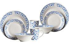 Blue Rose 16pc Porcelain Kitchen Serving Plates Bowls Mugs Service Dinner Set