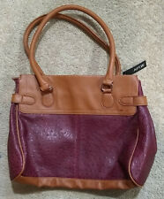 Apt. 9 Satchel/Purse/Handbag-Tan/Burgundy Faux Leather/Textured-Medium/Large