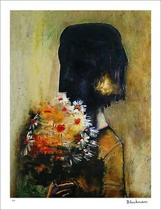 """CHARLES BLACKMAN """"Girl With Yellow Bouquet"""" Signed Limited Edition Print 89 x 67"""