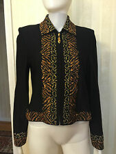 St. John Knit Jacket Blazer Sweater Black Shimmer Brown Gold Size 6, 4