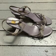 Vtg Miramonte Italy Leather Lilac Purple 3� High Heel Strappy Open Toe 8S