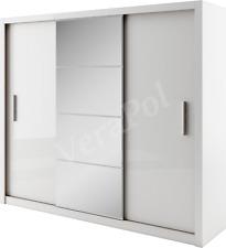 WARDROBE 250cm wide , 3 sliding doors , mirror BEDROOM FURNITURE DN-ID01 white