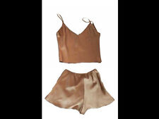 Womens Satain Sexy Bed Wear Lingerie 2pcs Set Lounge Wear Active Crop Top Shorts