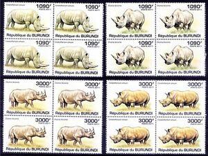BURUNDI 2011 MNH 4v in Blk 4, Rhino, Wild Animals
