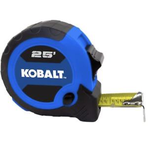 Kobalt 25ft Compact Tape Measure Slide Lock Push Button Blade Control 2565197