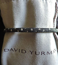 David Yurman 4mm Melange Black Rhodium Diamonds Stack Silver Cable Bangle M