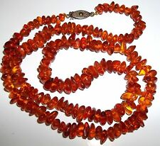 "Long 23.4g Jewelry 3/8"" wide Retro Vintage Baltic Amber Bead Necklace 24"""