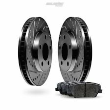 Fit 2011-2013 BMW X3 Front Sport Black Drill Slot Brake Rotors+Ceramic Brake Pad