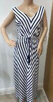 Per Una blue & White chevron nautical summer maxi dress jersey tassels size 14