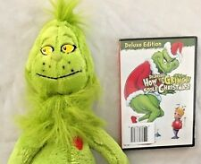 "Plush Seuss 21"" Green Grinch with Sealed Grinch Stole Christmas Dvd 2 Piece Set"