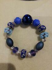 Blue Beaded Stretch Bracelet Lilah Ann Beads Lampwork Acrylic Resin Bali