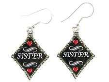 Sister Silver Diamond Wire Hook Earrings Jewelry Family Gift Grandmother