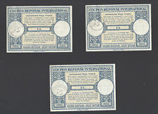 Lot of 3 Coupon Reponse International Great Britain 1953 8 d.