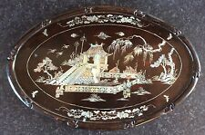 ANTIQUE CHINESE OVAL BLACK WOODEN WALL PLAQUE WITH MOTHER OF PEARL INLAY SCENES